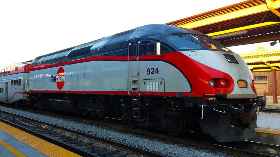 Caltrain commuter train waiting at the San Jose station.