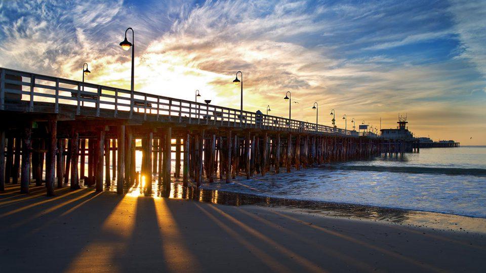 Santa Cruz pier during sunset.