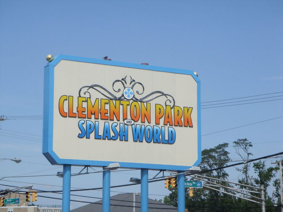 Clementon Park theme park sign in white and blue outline.