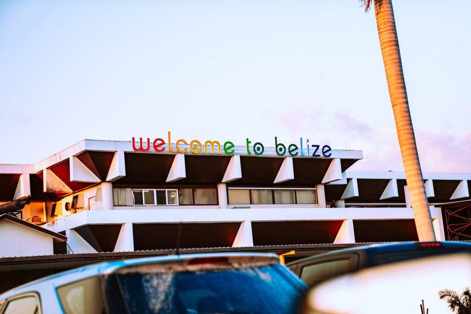 Colorful letters atop the airport in Belize